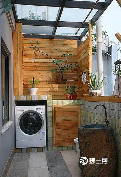 阳台洗衣机装修效果图 家庭洗衣房设计在阳台好不好