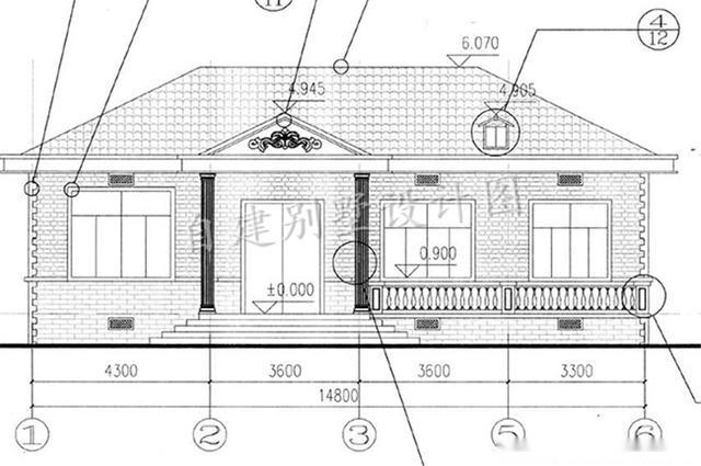 户型三:本户型为农村120平一层平房设计图,预算10万左右,含外观效果