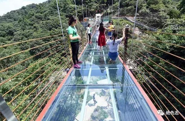 玻璃栈桥上的游客.