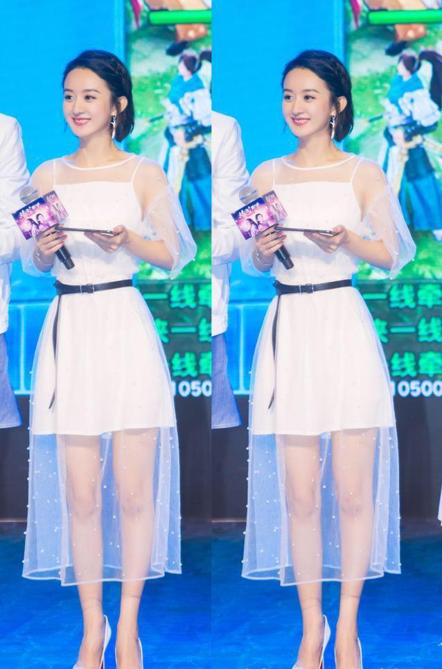 赵丽颖卷毛短发俏丽可爱,白色薄纱裙子好似小仙女