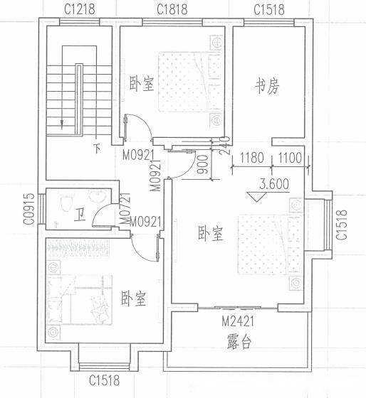 这款一层小别墅建筑面积只有90平方米,三室二厅一厨一卫的室内布局