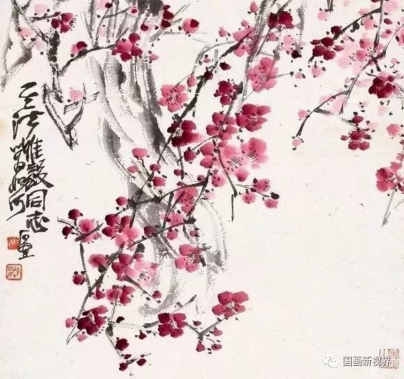 洋洋洒洒的红色画出了梅花之魂.