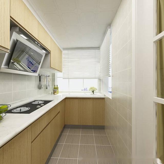 l类型厨房设计,橱柜设计原木门板样式,搭配格子浅色哑光砖,显得简洁