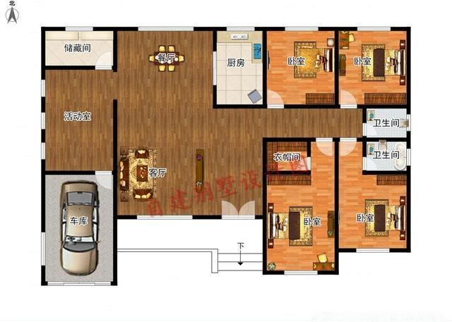 求农村一层平房屋设计图,坐北朝南,东西长14米,南北宽图片