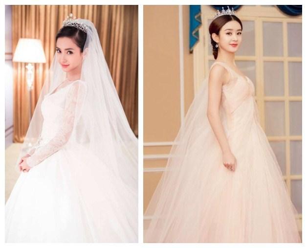 穿上婚纱的样子特别可爱,本来以为这就很惊艳了,想到遇到杨颖,赵丽颖