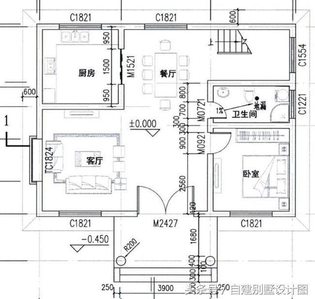客厅,厨房,餐厅,卧室,卫生间; 二层户型设计:客厅,卧室x2,书房,卫生间