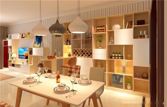 l型酒柜设计,隔断客厅与餐厅,现代简约风格,白色爱格门板搭配木纹
