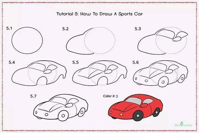 儿童简笔画:八款超级疯狂小汽车出动啦!详细的步骤,让