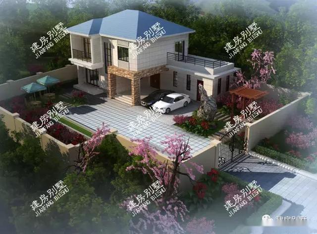 中西合璧的二层农村别墅,双车库设计,还有庭院景观