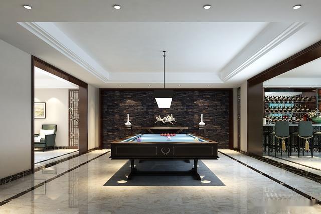 黄金水岸新中式别墅装修餐厅效果图2 休闲室的设计彰显了古典韵味,两