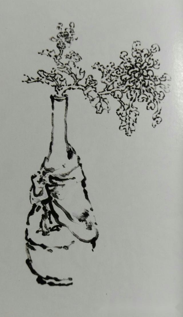 百合画上一正一侧.为了求得画画的自然疏朗,再添几只散布的小蘑菇.
