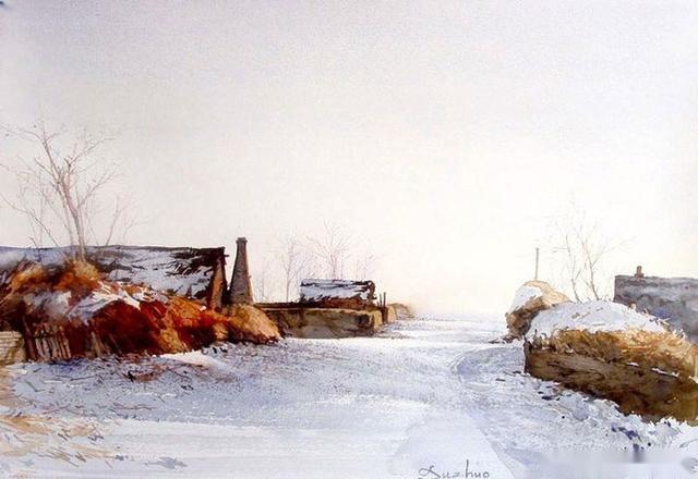 杜拙北方乡村风景水彩画