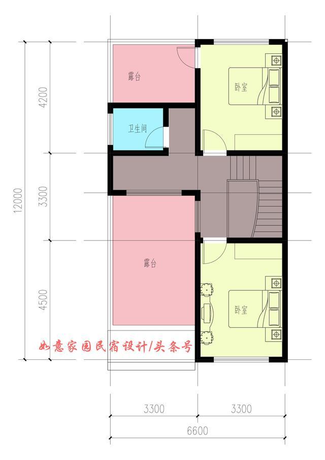 7×9平方米,农村自建房,一厨一餐厅3室两卫设计图纸.图片