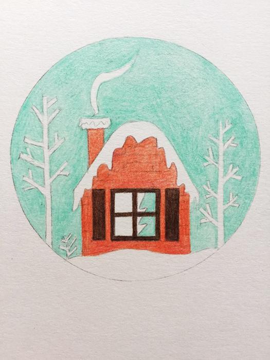 一看就会的彩铅画——超级简单的圣诞节明信片绘制步骤第一张