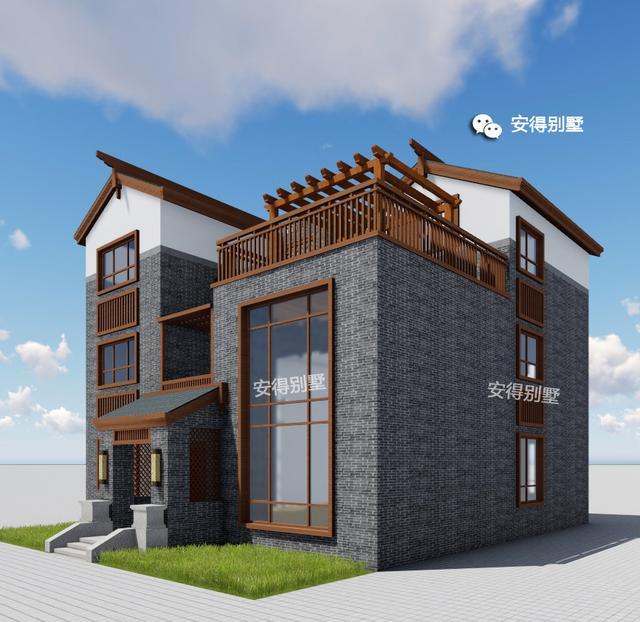 农村低造价三层新中式别墅,11.8x12.3米,青砖白漆木窗
