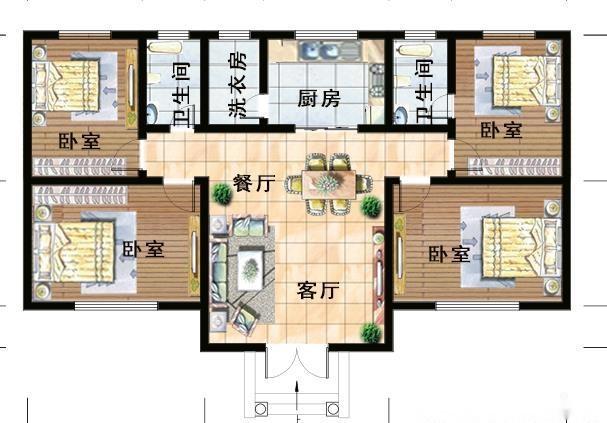 这款一层小别墅建筑面积140平左右,有四间卧室,2个卫生间,厨房餐厅客