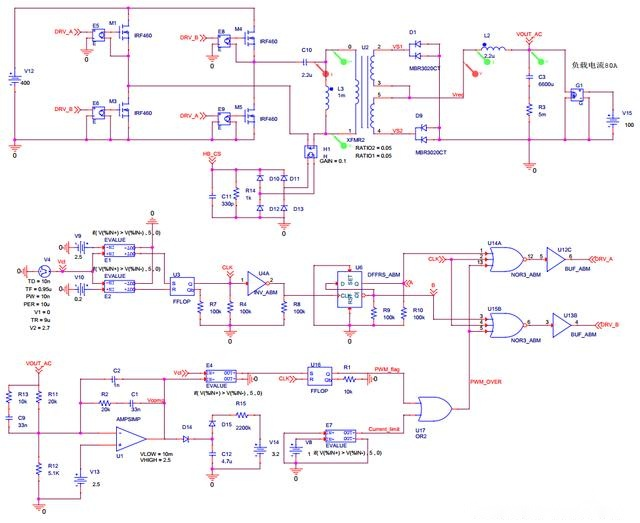 展开细节: i(l2)/10 是副边滤波电感上的纹波电路,便于观察除以10倍.