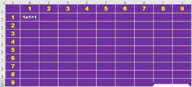 excel办公应用:制作九九乘法口诀表