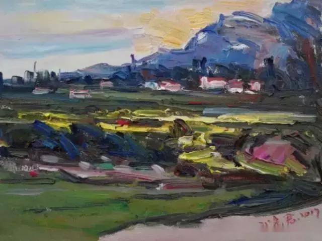 """武彦君的风景油画是中国式的,他自认他的作品是""""逸笔草草,聊以自乐""""."""
