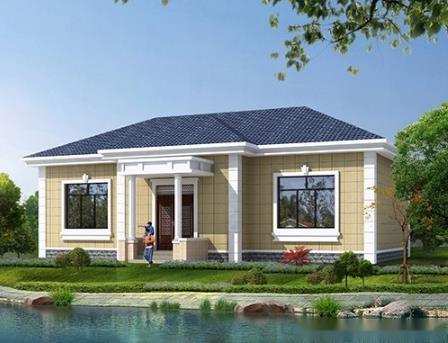 這款一層小別墅建筑面積140平左右,有四間臥室,2個衛生間,廚房餐廳