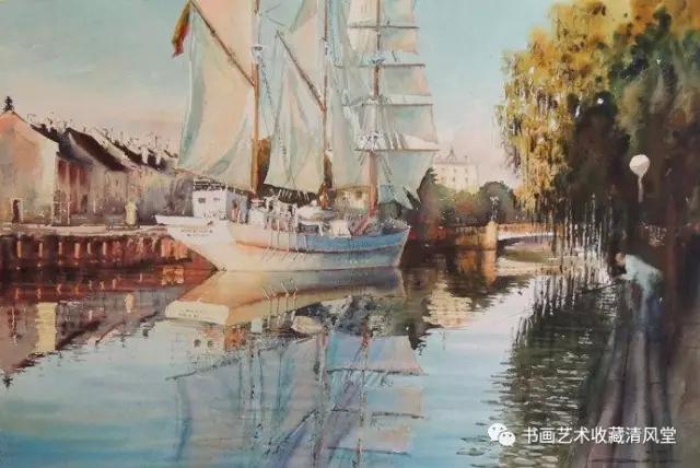 """这位以画风景水彩为主的女画家,其系列""""水景""""画作被全球私人或机构频"""