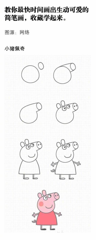 呆萌可爱小猪简笔画