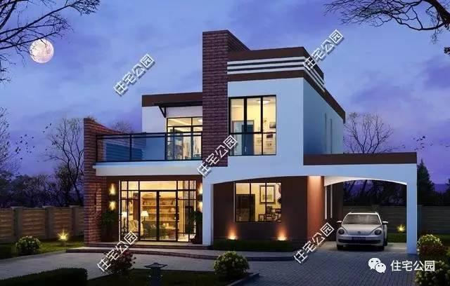 别墅8:13mx14m 别墅效果图:别墅为现代风格别墅,几何形建筑外观,线条