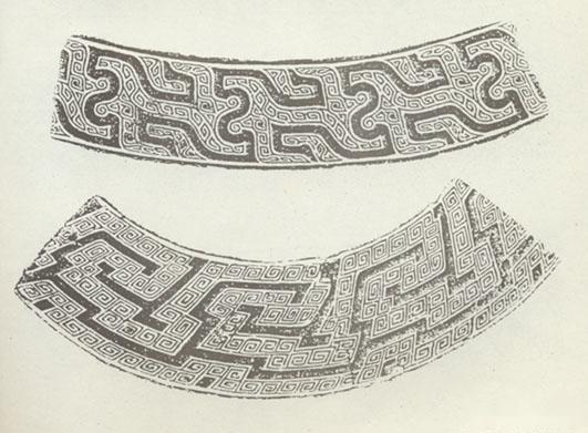 菱形鱼纹,联贝纹,鸟纹,花卉纹等;商代陶器还有仿青铜器花纹的兽面纹