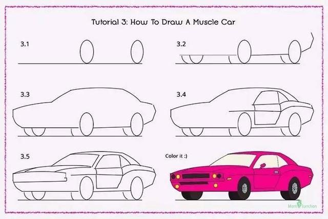 超级跑车             笔画教程,请关注 幼儿园创意亲子手工(kidsdiy