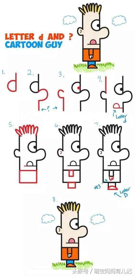 教孩子一分钟画创意简笔画,能嘚瑟