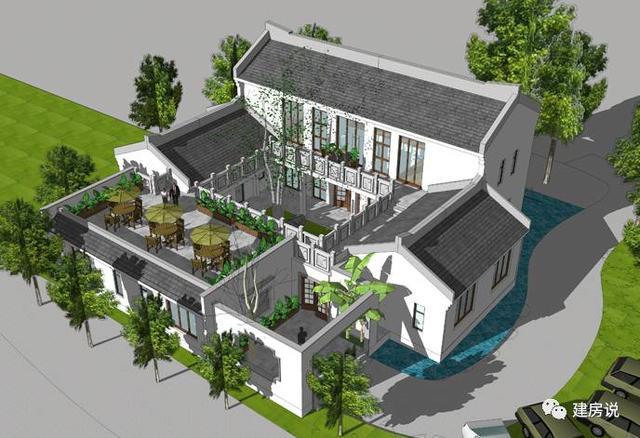 中式四合院设计效果图 去掉主楼中间的小门楼后的效果图