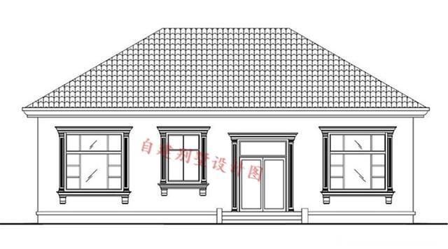 本户型为大面积农村一层房子设计图,蓝色的屋顶,浅黄色外墙,整体外形