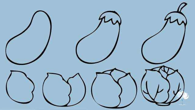 简笔画茄子的画法步骤