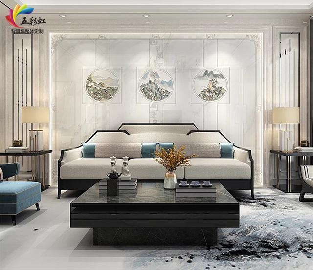 7,新中式微晶石沙发背景墙搭配石材护墙板装修效果图片