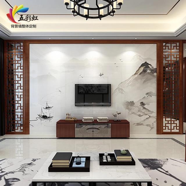6,新中式微晶石电视背景墙搭配实木花格装修效果