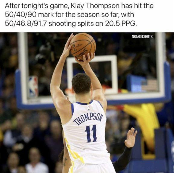 直播吧12月3日讯 在昨天勇士以133-112战胜魔术的比赛中,勇士后卫克莱-汤普森14投11中,三分4中3高效得到27分3篮板5助攻。 在这场比赛之后,克莱的投篮命中率达到了50.0%,三分命中率达到了46.8%,罚球命中率为91.7%,这三项命中率均创下了职业生涯新高。 克莱也正式成为180俱乐部里面的一员,180俱乐部:投篮命中率至少50%,三分命中率至少40%,罚球命中率至少90%。 赛季至今,克莱一共出战23场比赛,场均上场33.