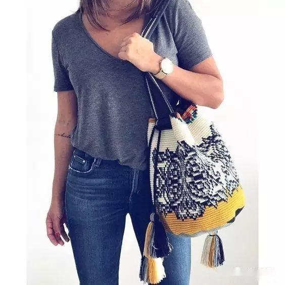 「钩针包」漂亮的间色水桶包,钩出不一样的风景~(有图解) 时尚潮流 第4张