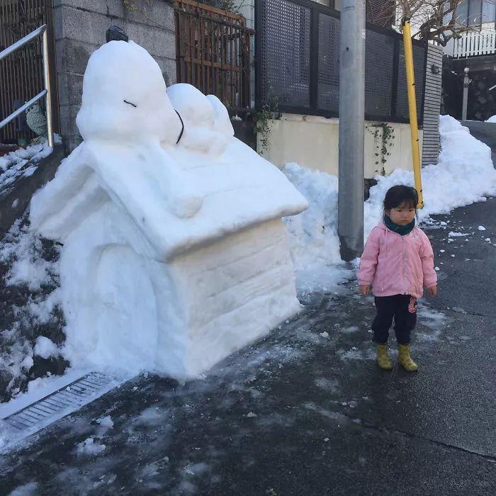 杭州保安下雪天堆出个动物园 网友:地域限制了才华 网络热点 第37张
