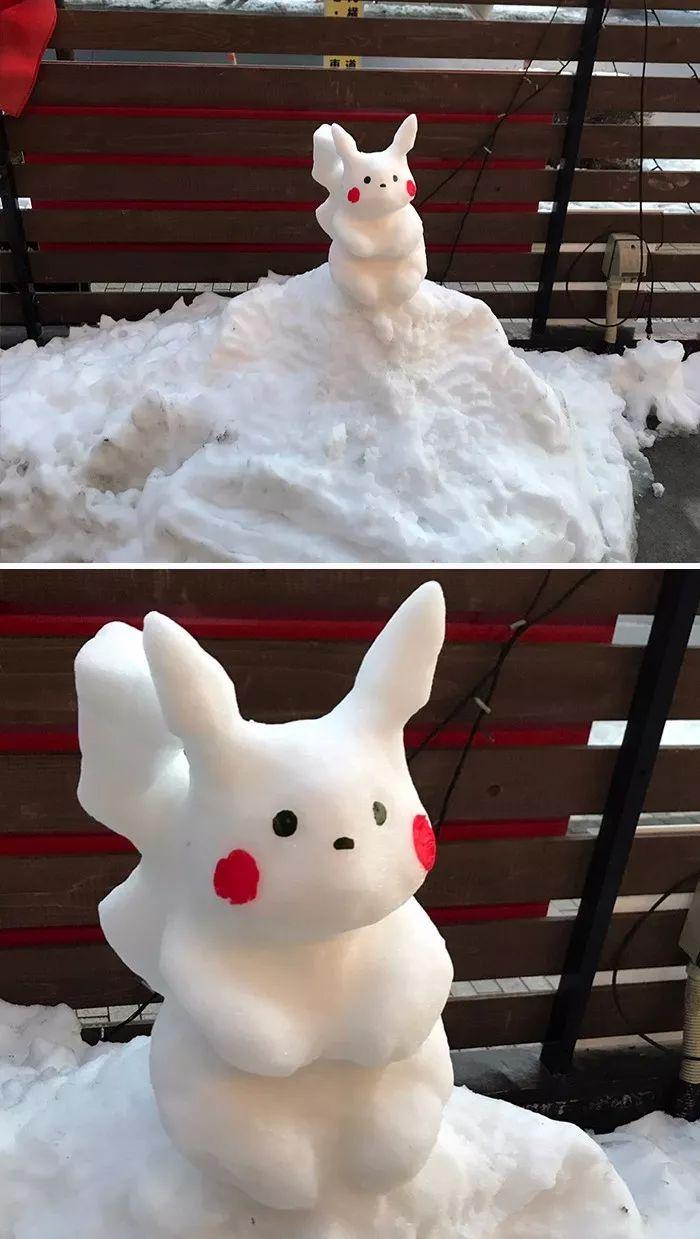 杭州保安下雪天堆出个动物园 网友:地域限制了才华 网络热点 第38张